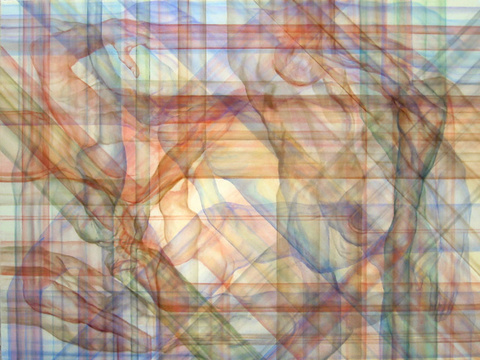 Abraham Brewster, Crisscross, 2005. Oil on canvas, 30 x 40 inches