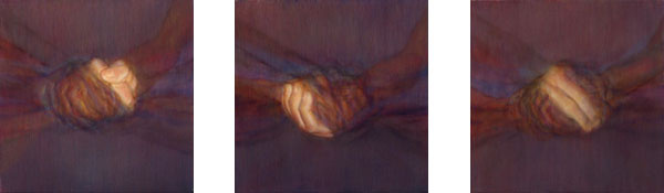 Abraham Brewster, Three Studies of Hands, 2004. Oil on canvas. Each 12 x 12 inches